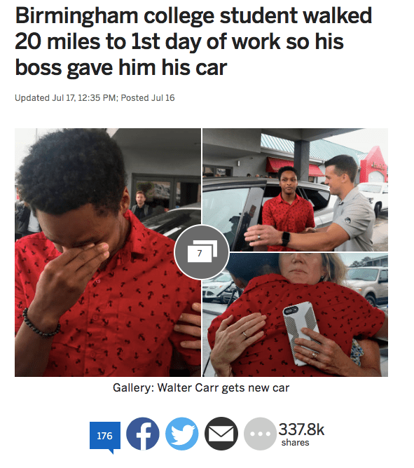 Stories About Marathon Walking Commuters Receiving Benevolent Donations of Cars Are Actually Terrible