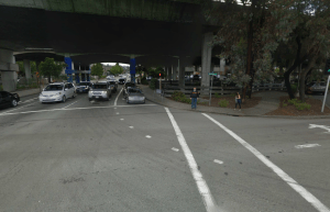 This is the spot where Olga Rodriguez was killed while trying to cross the street last week. Image: ##http://thegreatermarin.wordpress.com/2014/01/07/an-entirely-preventable-death-in-san-rafael/## The Greater Marin##