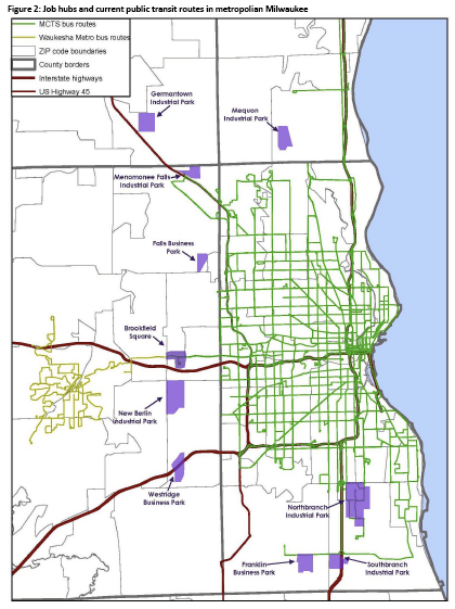 Click to enlarge. This map shows transit service from Milwaukee in green, and industrial parks outside its service area in purple. Image: Public Policy Forum