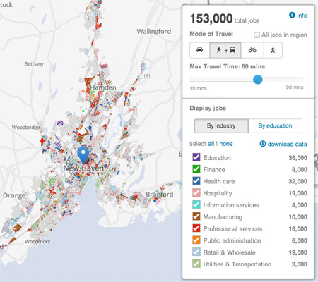 "The Regional Plan Association's new ""jobs access map"" shows the relationship between geography and access to economic opportunity. Image: Regional Plan Association"