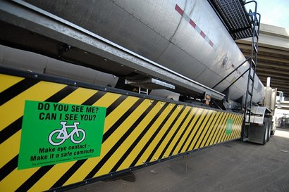 Semi-trucks may soon be required to come equipped with side guards that help protect cyclists. Photo: Systemic Failure