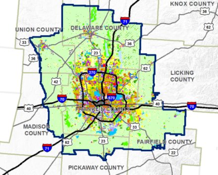The green area shown on the map will all be filled in with sprawl in Columbus by 2050 if nothing changes. That would represent a near tripling of Columbus' land area. Image: MORPC, Colubus 2020 and Columbus ULI via Architect's Newspaper