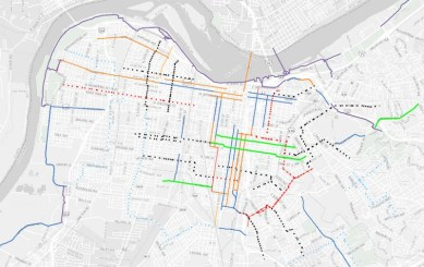 This map shows planned bike lanes as solid lines and bike boulevards dotted. Image: Bike Louisville via Broken Sidewalk
