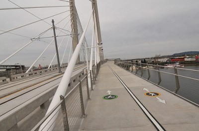 Portland's Tilikum Bridge will carry cyclists, transit riders and pedestrians over the Willamette River, but no cars. Photo: Jonathan Maus, Bike Portland