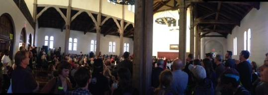 About 250 people packed a San Diego Church earlier this week, taking sides on a plan to improve street safety. Photo: BikeSD