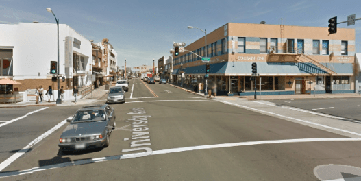 University Avenue at Fourth Avenue in San Diego, where a driver ran over a mother and her 3-year-old daughter. San Diego leaders killed a community plan to improve street safety after NIMBYs complained about parking. Image: Google Maps