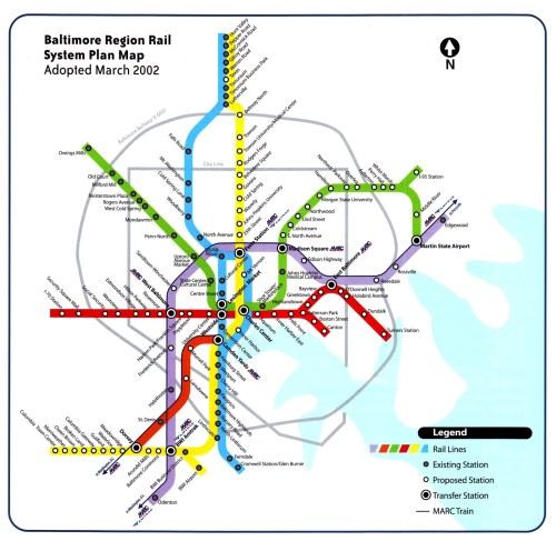 Proposed Baltimore Red Line, circa 2002. Image via Baltimore InnerSpace