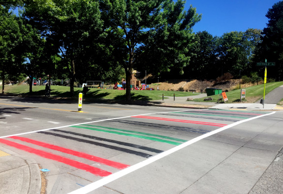 A crosswalk with a pan-African theme near Seattle's Powell Barnett Park. Photo: Seattle Bike Blog