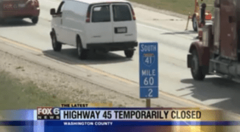 "Wisconsin had to shut down a freeway for hours last week for emergency repairs to three ""enormous"" potholes. Image: Fox 6 Milwaukee"