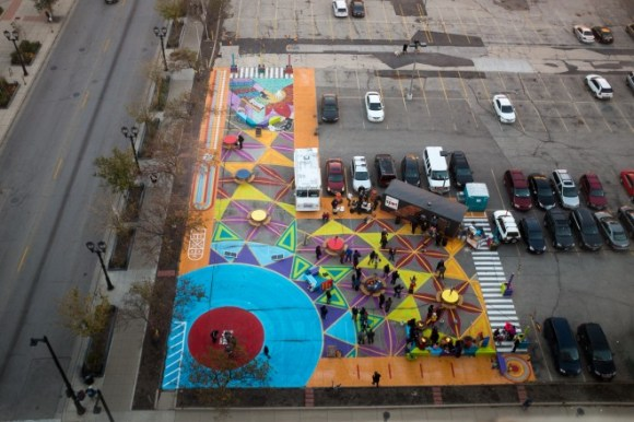 A couple of surface parking lots in MIlwaukee were dragging down downtown so the city applied a fresh coat of paint to make the space feel inviting again. Photo: PPS Placemaking