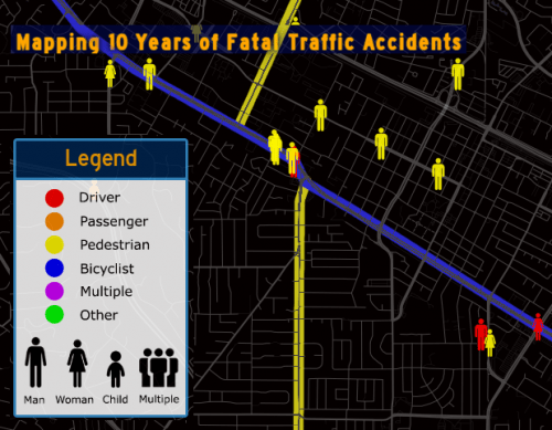 El Camino Real in Mountainview is a pretty dangerous street for pedestrians, but apparently police are out patrolling for cars not going fast enough. Image: Metrocosm via Cyclelicious