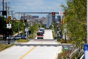 Bus rapid transit in Crystal City, Virginia. Photo: Beyond DC via Flickr