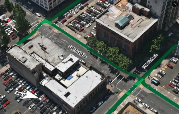 How a protected intersection could fit into thePortland streetscape. Image: Nick Falbo viaBike Portland