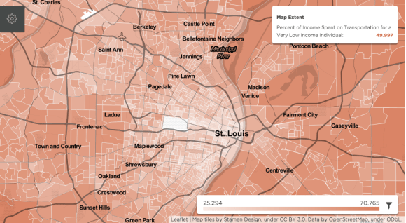 Darker red areas on this map indicate higher transportation costs for low-income workers. Map: Mysidewalk.com