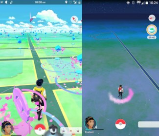 Pokémon Go in New York City (left) versus an exurb (right). Images via Stop and Move