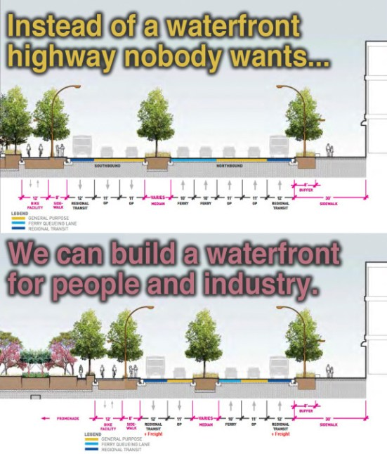 As if Seattle's buried replacement for the Alaskan Way Viaduct weren't bad enough, it's planning to top it with another high-speed, overly-wide road. Photo: Seattle Bike Blog
