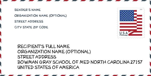zip code 27157 bowman gray school of