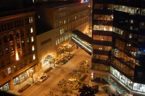 Abendlicher Blick aus unsrem Hotelzimmer