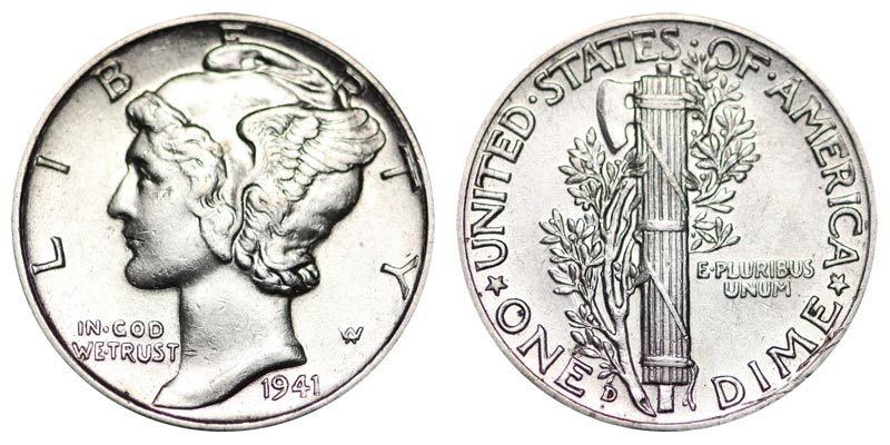 √ 1941 D Mercury Dimes Winged Liberty Silver Dime: Value and