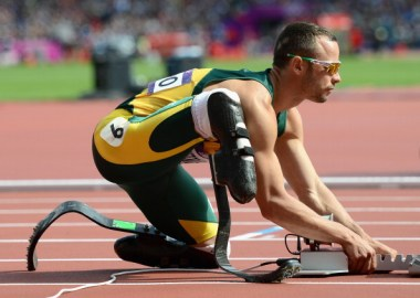 File-pix 2012:  Oscar Pistorius of South Africa prepares for his race in the Men's 400m Round 1 heat on Day 8 of the 2012 London Olympic Games at the Olympic Stadium in London, England.  (Photo by Julia Vynokurova/Getty Images)