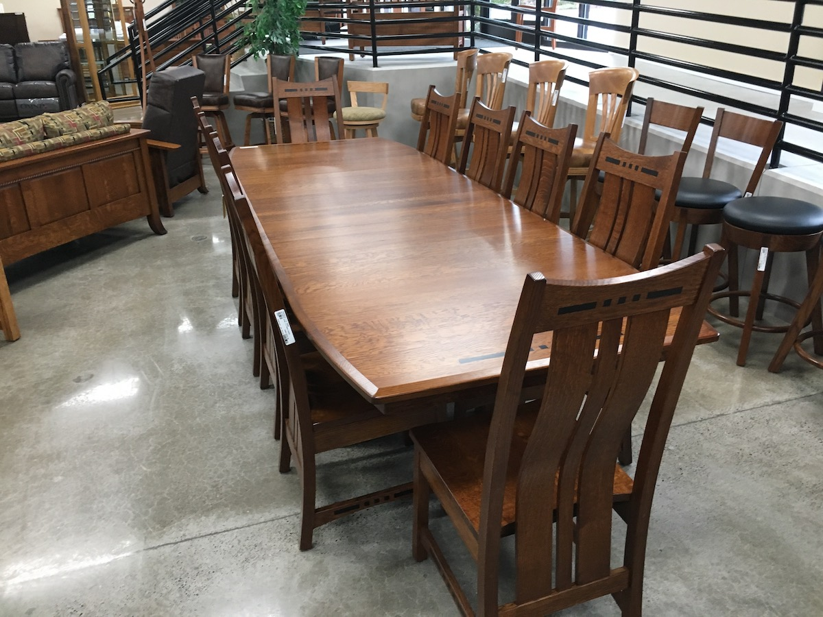 amish built sofa tables foam flip out usa furniture and leather connectionoak warehouse hot selling dining sets with ebony inlays