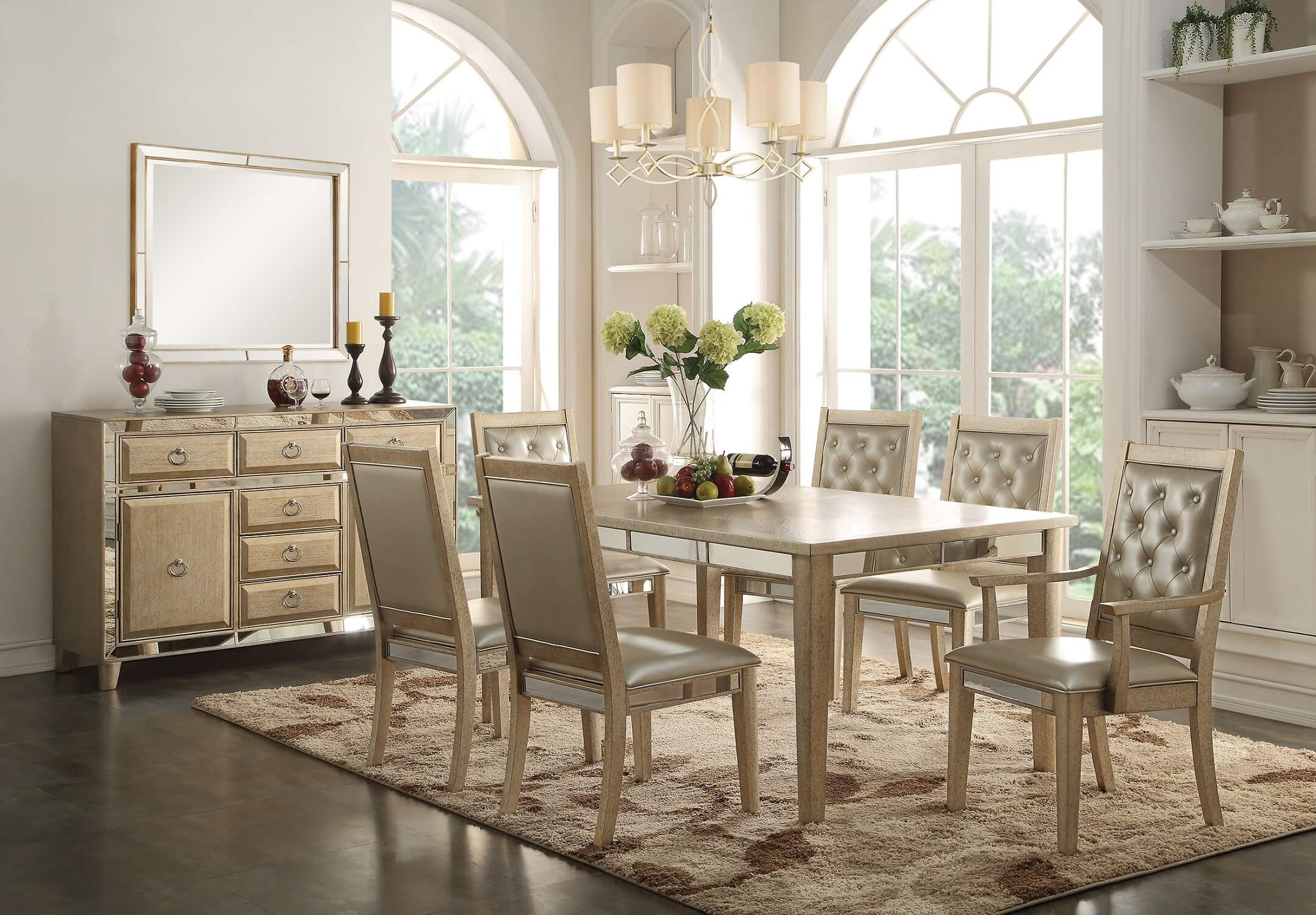 Antique White Dining Chairs Voeville Mirrored Dining Set Antique White Finish By Acme 61000