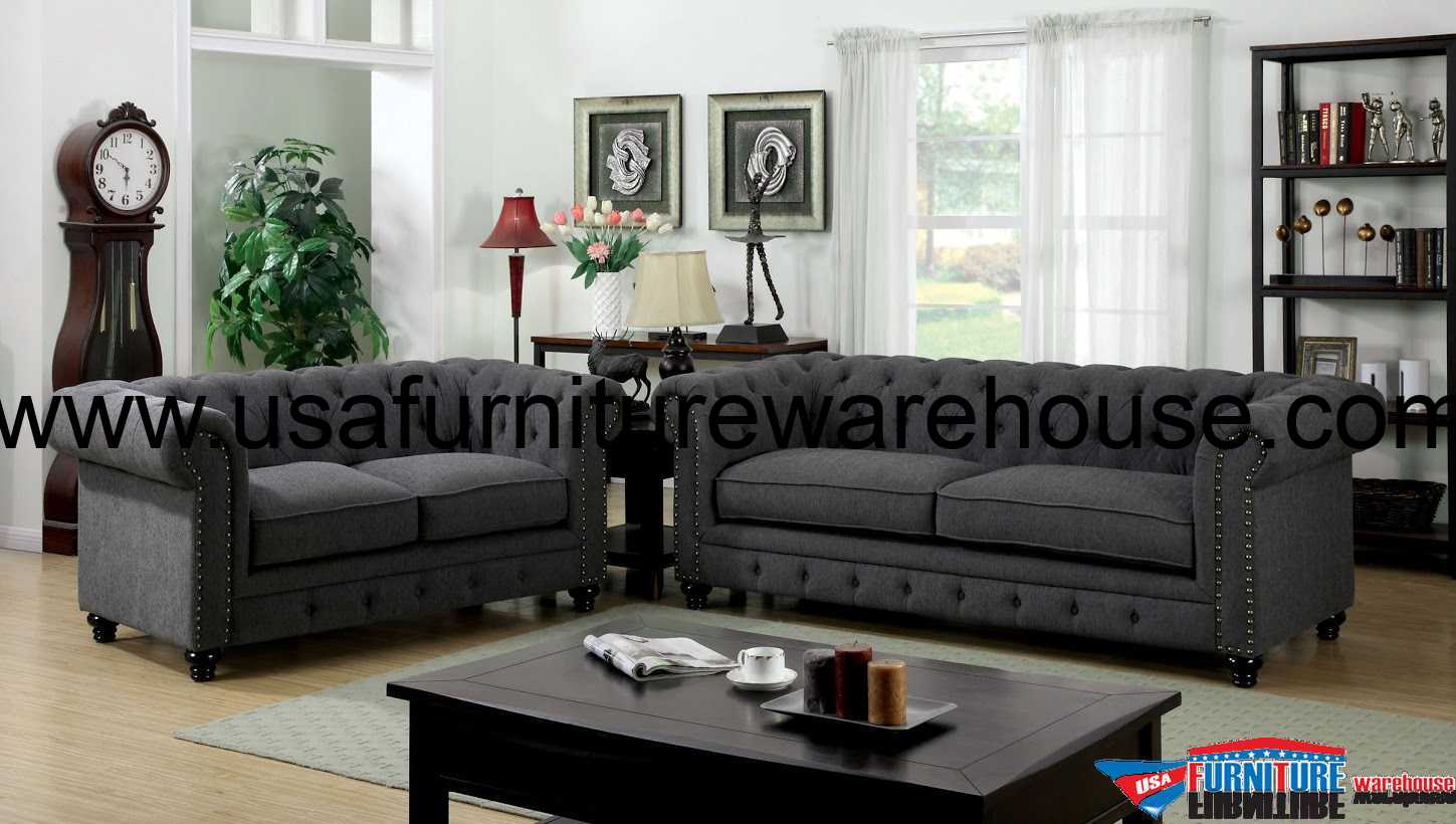 Grey Living Room Chairs 3 Piece Stanford Gray Fabric Sofa Set Foa 6269sf
