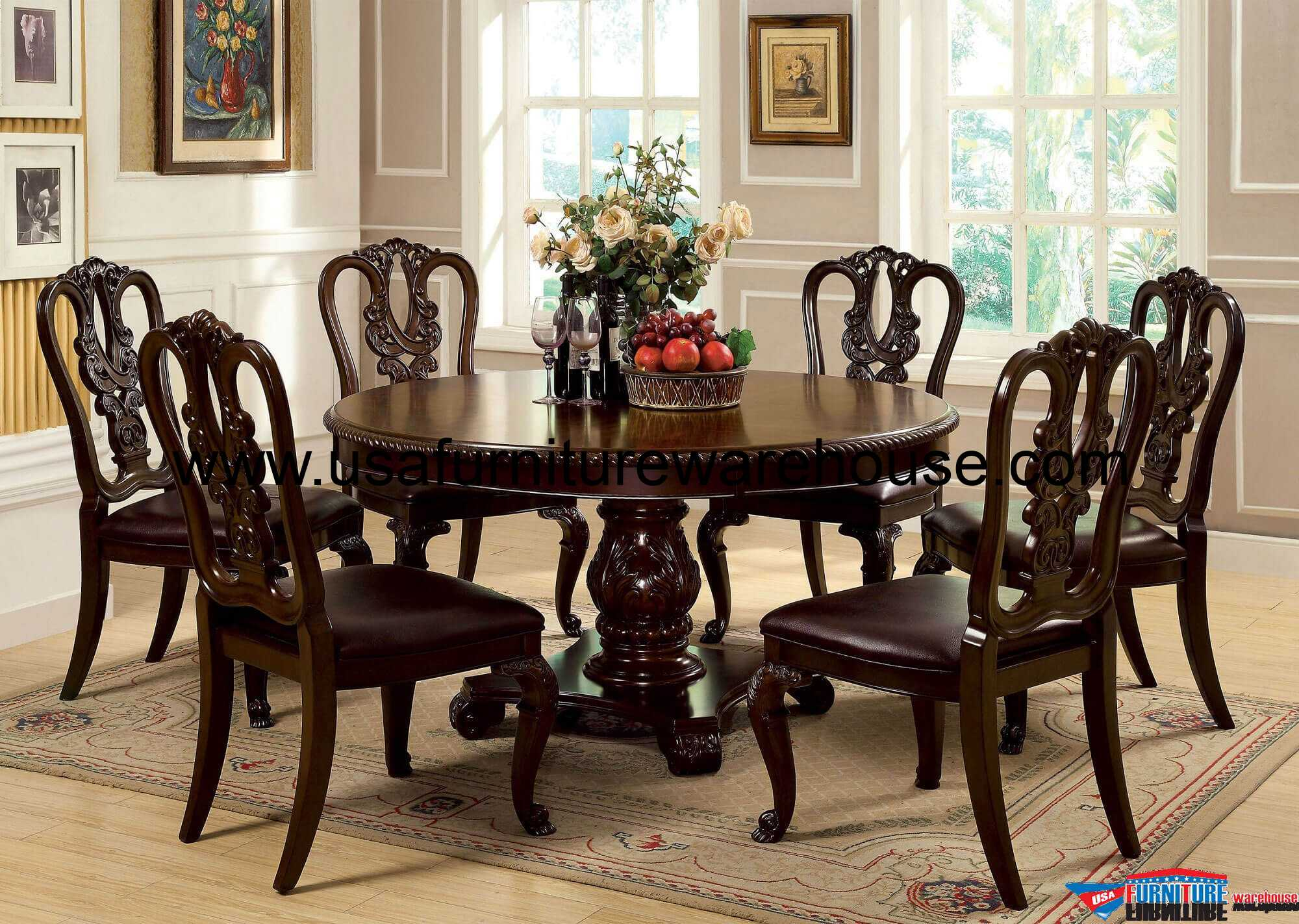 Dining Chairs Set 7 Piece Bellagio Round Dining Set With Wooden Side Chair