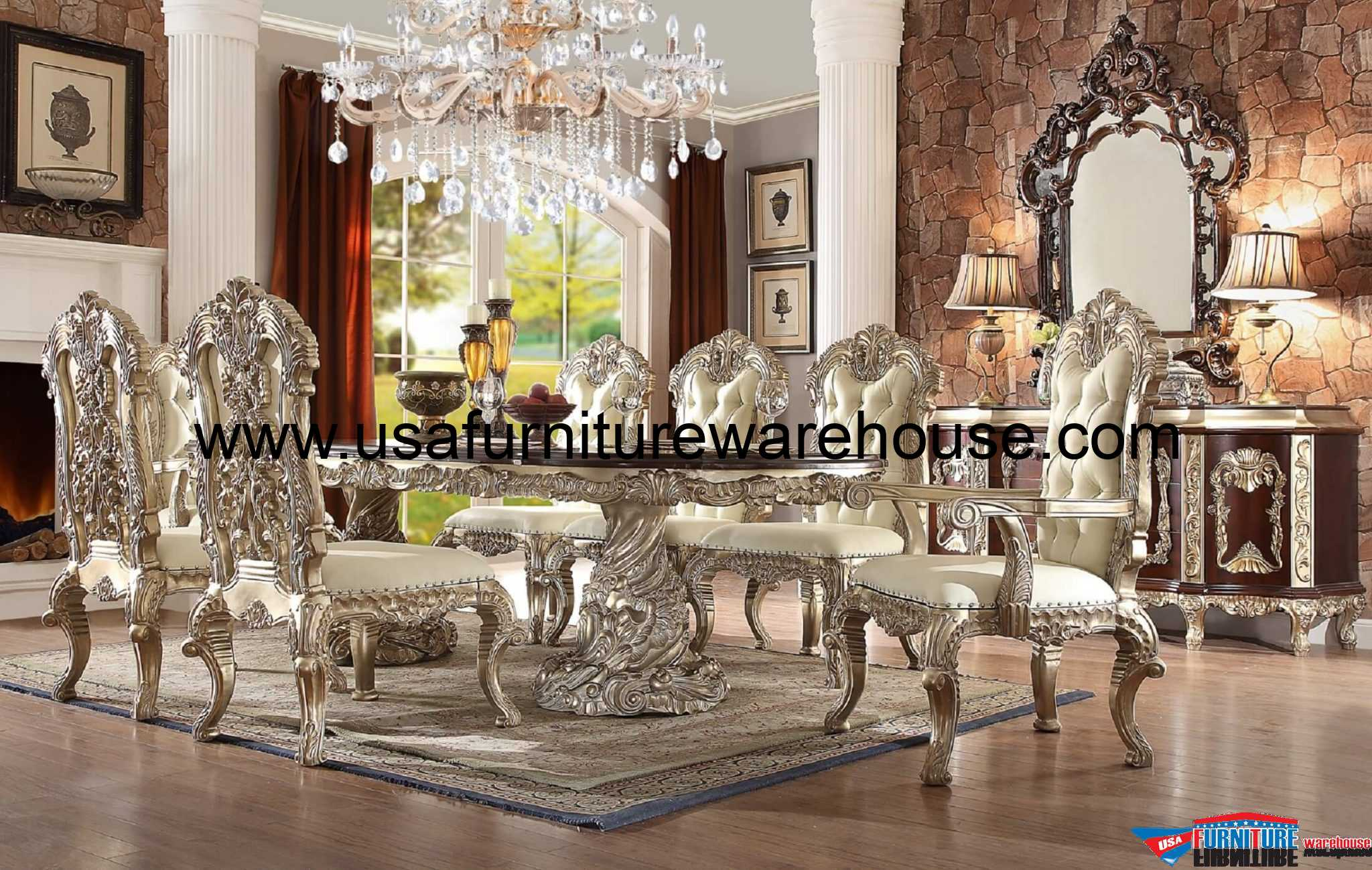 Homey Design HD-8017 Cleopatra Double Pedestal Dining Set