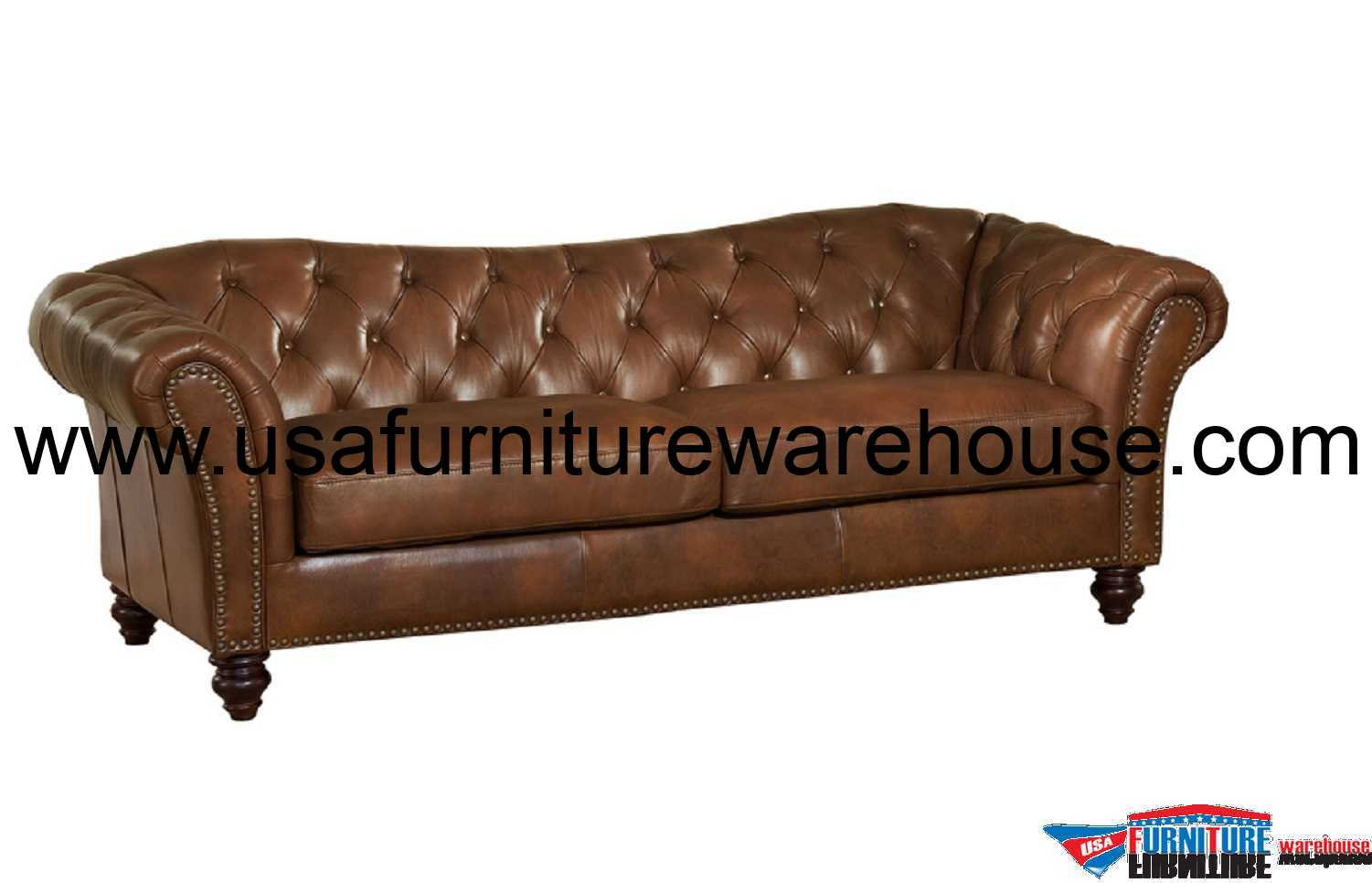 Brown Leather Chair Mona Full Top Grain Brown Leather Sofa