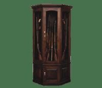 Corner Gun Cabinet - Brown Maple