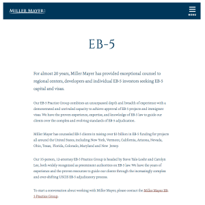 Miller Meyer for EB-5 assistance