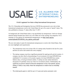 USAIE applauds new USCIS rule granting parole to entrepreneurs