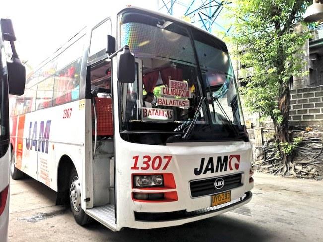 バタンガス行きのJAMのバス