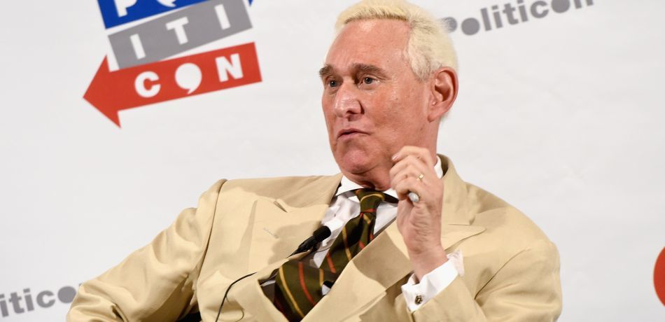 Roger Stone speaks at Politicon, a political gathering, in 2017.