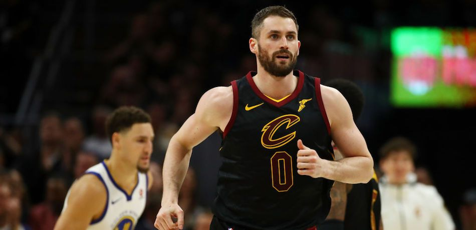 Kevin Love #0 of the Cleveland Cavaliers runs down court against the Golden State Warriors during Game Three of the 2018 NBA Finals at Quicken Loans Arena on June 6, 2018 in Cleveland, Ohio.