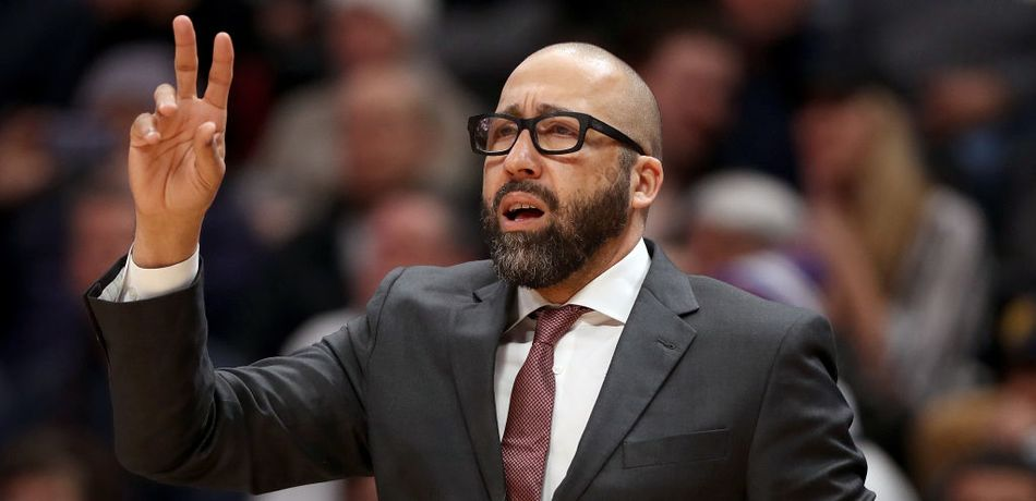Head coach David Fizdale of the New York Knicks works the sidelines against the Denver Nuggets at the Pepsi Center on January 01, 2019 in Denver, Colorado.
