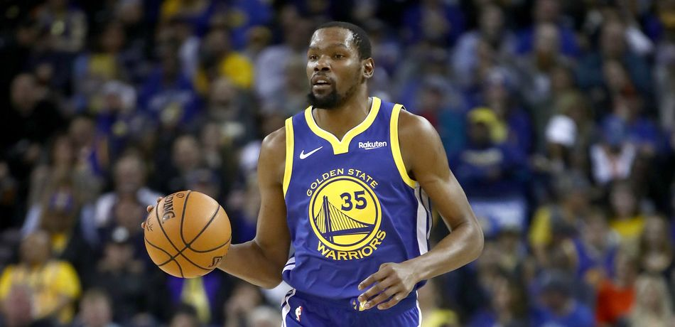 Kevin Durant #35 of the Golden State Warriors in action during their game against the Cleveland Cavaliers at ORACLE Arena on April 05, 2019 in Oakland, California.