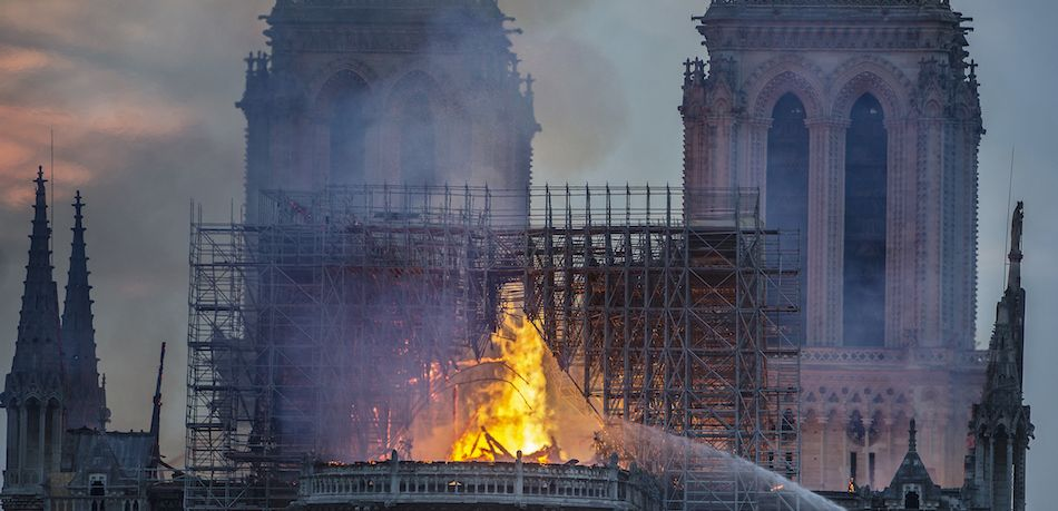Notre Dame Cathedral burns.