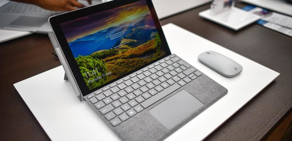 A Microsoft Surface device on display at the Microsoft store in London, England.