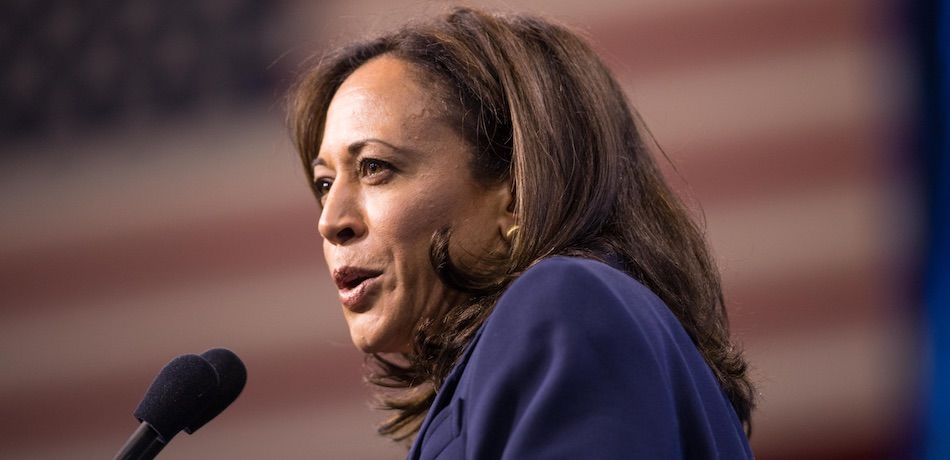 Democratic presidential candidate, Sen. Kamala Harris (D-CA) speaks during the New Hampshire Democratic Party Convention at the SNHU Arena on September 7, 2019 in Manchester, New Hampshire.