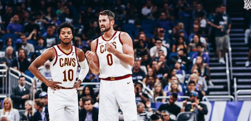 Darius Garland #10 and Kevin Love #0 of the Cleveland Cavaliers on the court against the Orlando Magic in the 3rd quarter at Amway Center on October 23, 2019 in Orlando, Florida.