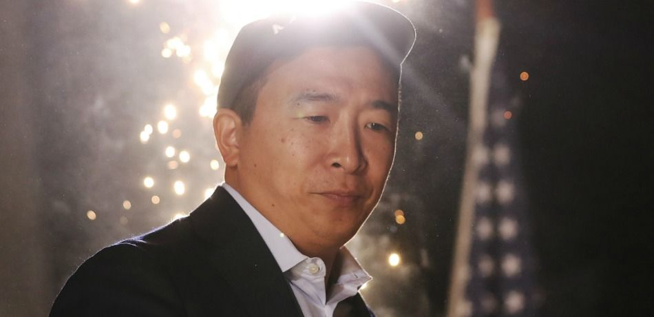 Andrew Yang stands at a campaign rally on September 30, 2019 in Los Angeles, California.
