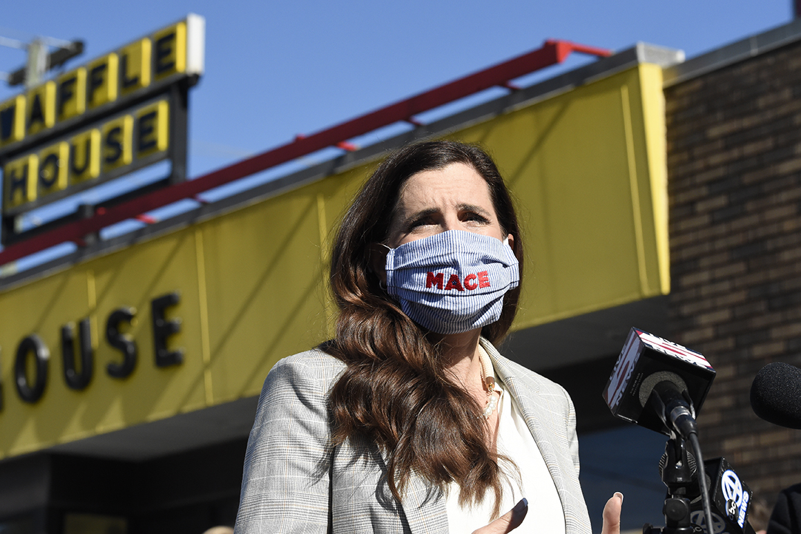 U.S. House candidate Nancy Mace addresses supporters outside a Waffle House where the Republican once worked on Wednesday, Nov. 4, 2020, in Ladson, S.C. Mace defeated Democratic U.S. House Rep. Joe Cunningham in South Carolina's 1st District. (AP Photo/Meg Kinnard)