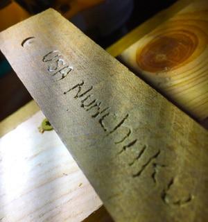 Red Oak Custom Engraved Nunchaku