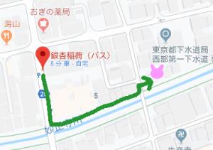 停留所からのルートマップ