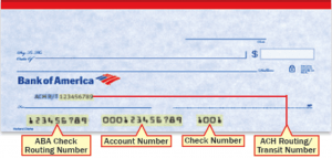 routing number on check boa