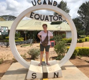 Susan Fowler-Kerry at the equator in Uganda