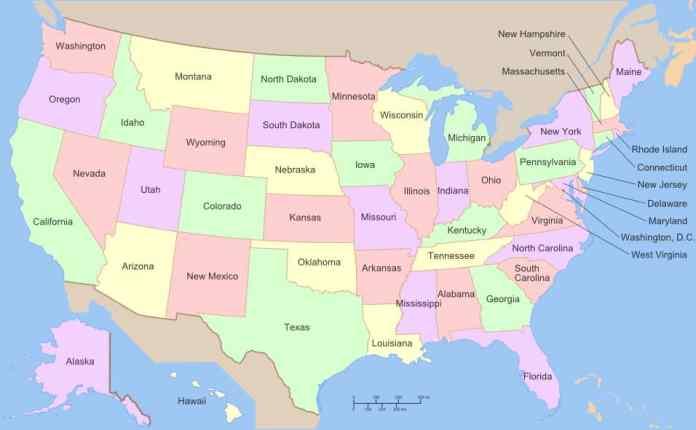 Stati Uniti Cartina Fisica E Politica.Mappa Stati Uniti Cartina Fisica E Politica Degli Usa