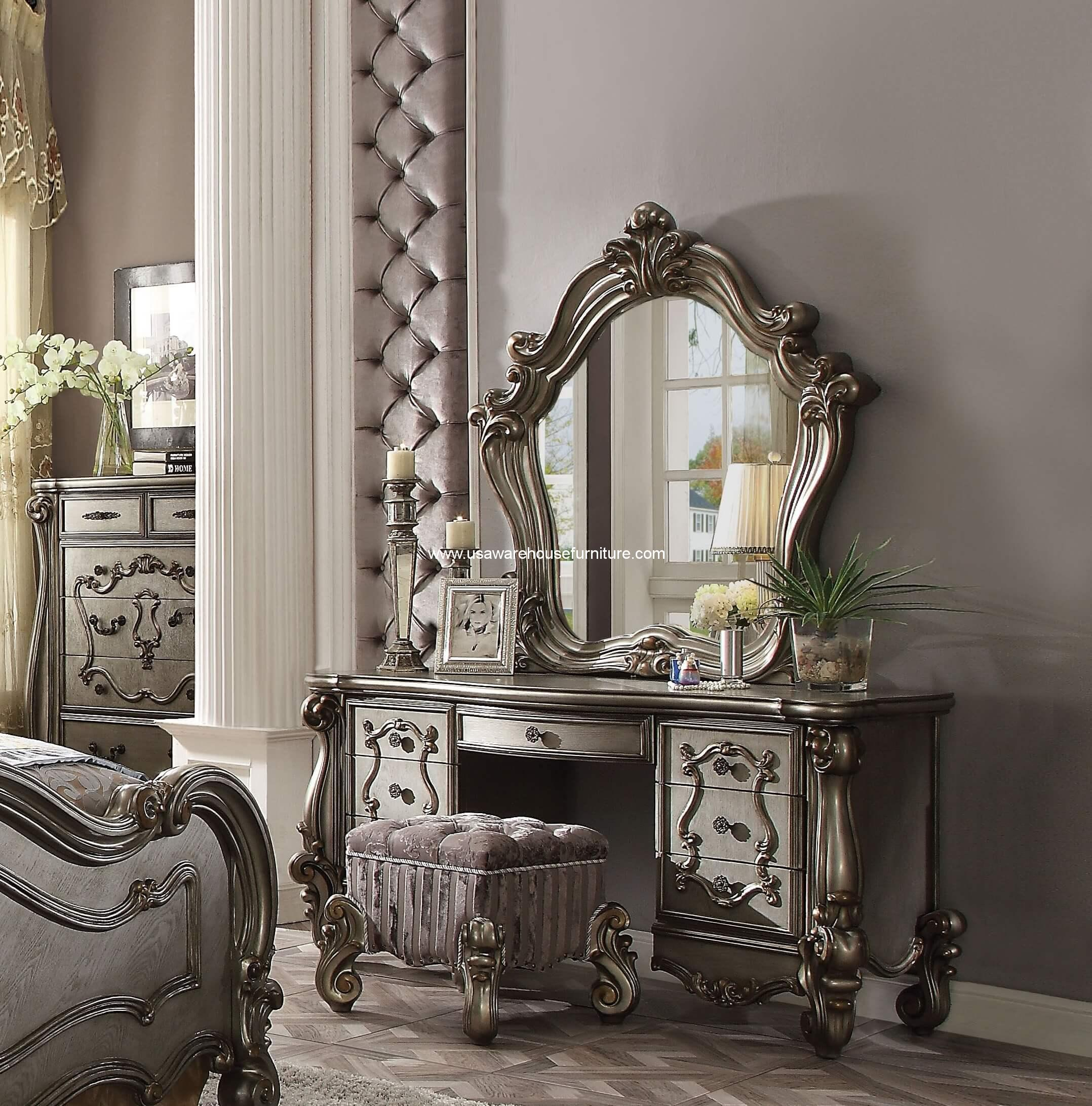 Vanity With Mirror And Chair 3 Piece Versailles Vanity Mirror With Stool Antique